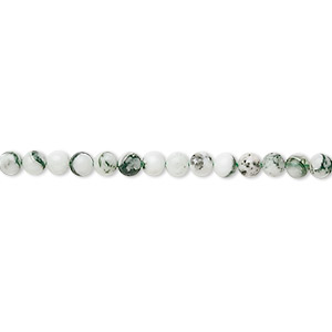 bead, tree agate (natural), 3mm round, b grade, mohs hardness 6-1/2 to 7. sold per 16-inch strand.