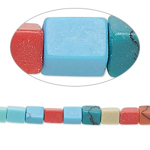 bead, turquoise / howlite / coral / mother-of-pearl shell / resin (imitation / assembled), opaque multicolored, 5x4mm-6x5mm square tube. sold per 15-inch strand.
