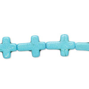 bead, turquoise (dyed / imitation), blue, 16x12mm flat cross. sold per 15-inch strand.