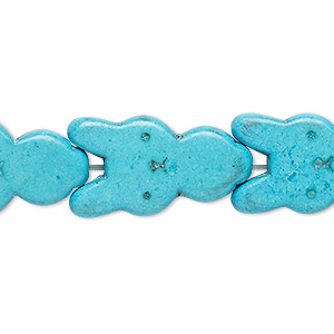 bead, turquoise (dyed / imitation), blue, 27x15mm-28x15mm carved flat rabbit. sold per 15-inch strand.