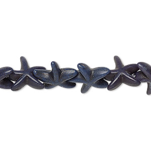 bead, turquoise (dyed / imitation), dark lapis blue, 13x12mm-14x14mm starfish. sold per 15-inch strand.