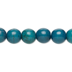 bead, turquoise (dyed / imitation), dark teal green, 9-10mm round. sold per 15-inch strand.