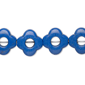 bead, turquoise (dyed / imitation), lapis blue, 15x15mm open flower. sold per 15-inch strand.