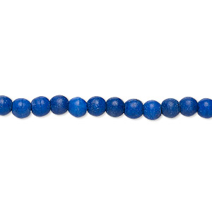 bead, turquoise (dyed / imitation), lapis blue, 3-4mm round. sold per 15-inch strand.
