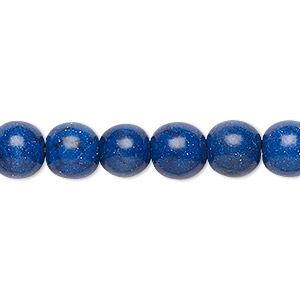 bead, turquoise (dyed / imitation), lapis blue, 8-9mm round. sold per 15-inch strand.
