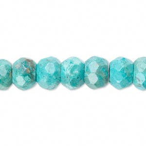 bead, turquoise (dyed / stabilized), 10x7mm faceted rondelle, b grade, mohs hardness 5 to 6. sold per 16-inch strand.