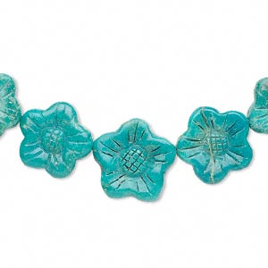 bead, turquoise (dyed / stabilized), 13x13mm-21x21mm hand-carved, double-sided graduated flat flower, b grade, mohs hardness 5 to 6. sold pkg of 7.
