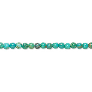 bead, turquoise (dyed / stabilized), 2.5-3mm round, b grade, mohs hardness 5 to 6. sold per 16-inch strand.