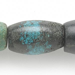 bead, turquoise (dyed / stabilized), 25x17mm-43x25mm barrel, c grade, mohs hardness 5 to 6. sold per 15-inch strand.