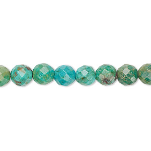 bead, turquoise (dyed / stabilized), 6mm faceted round, c grade, mohs hardness 5 to 6. sold per 16-inch strand.
