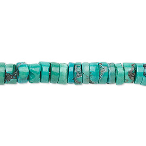 bead, turquoise (dyed / stabilized), 6x3mm heishi, b grade, mohs hardness 5 to 6. sold per 16-inch strand.