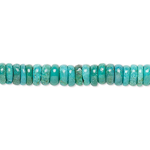 bead, turquoise (dyed / stabilized), 6x3mm rondelle, b grade, mohs hardness 5 to 6. sold per 16-inch strand.