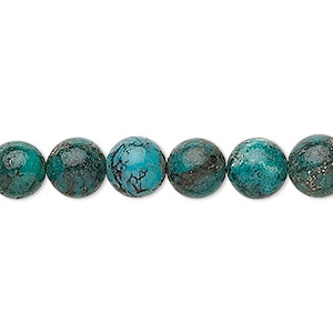 bead, turquoise (dyed / stabilized), 8mm round, c grade, mohs hardness 5 to 6. sold per 16-inch strand.