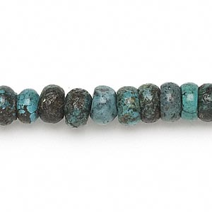 bead, turquoise (dyed / stabilized), 8x2mm-9x6mm rondelle, d grade, mohs hardness 3-1/2 to 4. sold per 15-inch strand.