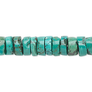 bead, turquoise (dyed / stabilized), 9x5mm heishi, b grade, mohs hardness 5 to 6. sold per 16-inch strand.