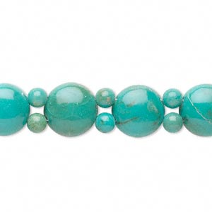 bead, turquoise (dyed / stabilized), blue, 5mm round and 11mm double-drilled domed flat round, b grade, mohs hardness 5 to 6. sold per 6-1/2 inch strand.