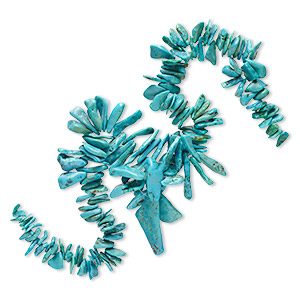 bead, turquoise (dyed / stabilized), blue and blue-green, large to gigantic graduated chip, mohs hardness 5 to 6. sold per 15-inch strand.