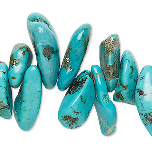 bead, turquoise (dyed / stabilized), blue, gigantic chip, mohs hardness 5 to 6. sold per 16-inch strand.