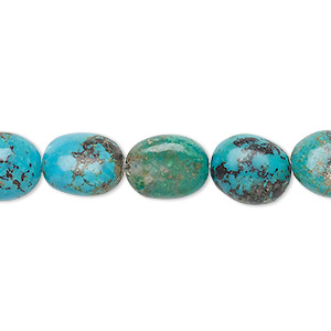 bead, turquoise (dyed / stabilized), blue-green, 11x9mm-13x11mm puffed oval, c+ grade, mohs hardness 5 to 6. sold per 8-inch strand.
