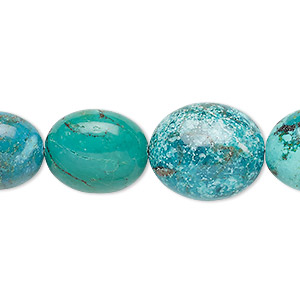 bead, turquoise (dyed / stabilized), blue-green, 16x14mm-20x16mm puffed oval, b grade, mohs hardness 5 to 6. sold per 8-inch strand, approximately 10 beads.