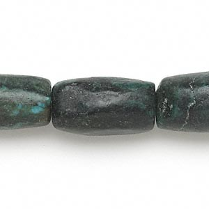 bead, turquoise (dyed / stabilized), blue-green, 17x11mm-27x14mm barrel, d grade, mohs hardness 5 to 6. sold per 16-inch strand.