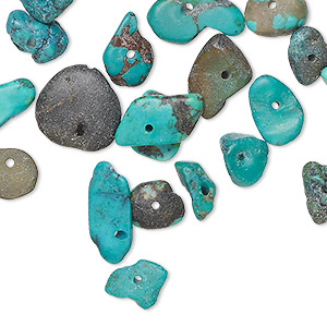 bead, turquoise (dyed / stabilized), blue-green and green, large top- and center-drilled chip, mohs hardness 5 to 6. sold per pkg of 26 beads.