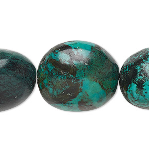 bead, turquoise (dyed / stabilized), blue-green, large to extra-large flat nugget, mohs hardness 5 to 6. sold per 8-inch strand.