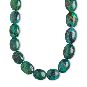 bead, turquoise (dyed / stabilized), blue-green, medium to extra-large graduated nugget, mohs hardness 5 to 6. sold per 16-inch strand.