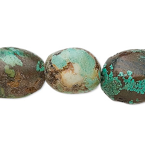 bead, turquoise (dyed / stabilized), blue-green, medium to large oval nugget, mohs hardness 5 to 6. sold per 16-inch strand.