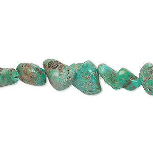 bead, turquoise (dyed / stabilized), blue-green, mini to medium hand-cut nugget, mohs hardness 5 to 6. sold per 15-inch strand.