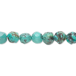 bead, turquoise (dyed / stabilized), blue-green, small to medium faceted pebble, mohs hardness 5 to 6. sold per 16-inch strand.