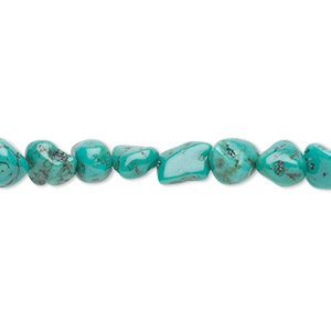 bead, turquoise (dyed / stabilized), blue-green, small to medium pebble, mohs hardness 5 to 6. sold per 16-inch strand.