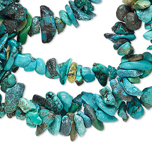 bead, turquoise (dyed / stabilized), blue, large chip, mohs hardness 5 to 6. sold per 34-inch strand.
