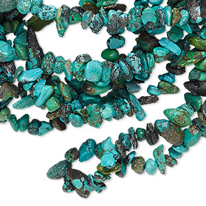 bead, turquoise (dyed / stabilized), blue, mini chip, mohs hardness 5 to 6. sold per 34-inch strand.