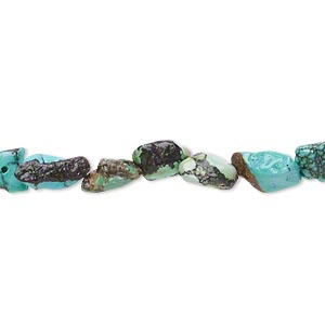 bead, turquoise (dyed / stabilized), blue, mini to small flat nugget, mohs hardness 5 to 6. sold per 15-inch strand.