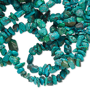 bead, turquoise (dyed / stabilized), blue, small chip, mohs hardness 5 to 6. sold per 36-inch strand.