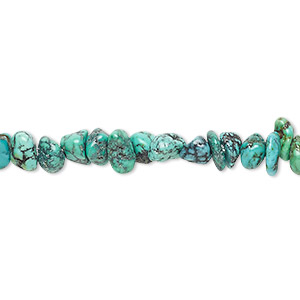 bead, turquoise (dyed / stabilized), blue, small chip, mohs hardness 5 to 6. sold per 16-inch strand.