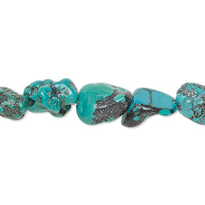 bead, turquoise (dyed / stabilized), blue, small nugget, mohs hardness 5 to 6. sold per 15-inch strand.