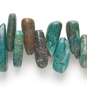 bead, turquoise (dyed / stabilized), extra-large top-drilled hawaiian chip, mohs hardness 5 to 6. sold per 7-inch strand.