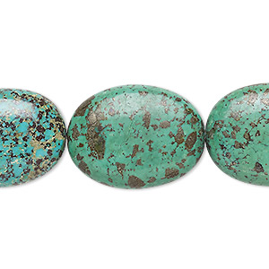bead, turquoise (dyed / stabilized), green, 23x17mm-24x19mm flat oval, c- grade, mohs hardness 5 to 6. sold per 15-inch strand.