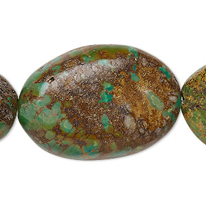 bead, turquoise (dyed / stabilized), green-brown, 34x25mm-45x33mm puffed oval, c- grade, mohs hardness 5 to 6. sold per 8-inch strand.