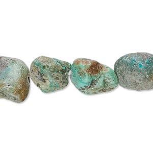bead, turquoise (dyed / stabilized), green-brown, medium to large tumbled nugget, mohs hardness 5 to 6. sold per 16-inch strand.