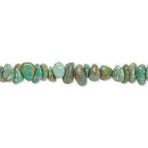 bead, turquoise (dyed / stabilized), green-brown, small chip and small pebble, mohs hardness 5 to 6. sold per 15-inch strand.