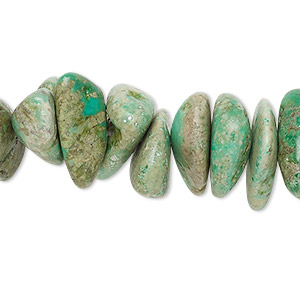 bead, turquoise (dyed / stabilized), green, extra-large chip, mohs hardness 5 to 6. sold per 15-inch strand.