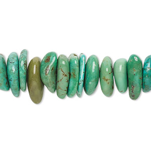 bead, turquoise (dyed / stabilized), green, extra-large chip, mohs hardness 5 to 6. sold per 16-inch strand.