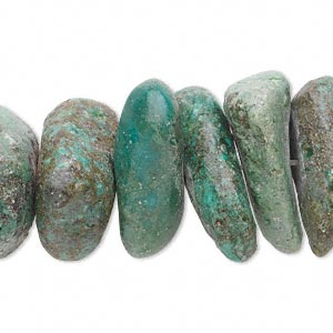 bead, turquoise (dyed / stabilized), green, medium to large nugget, mohs hardness 5 to 6. sold per 15-inch strand.