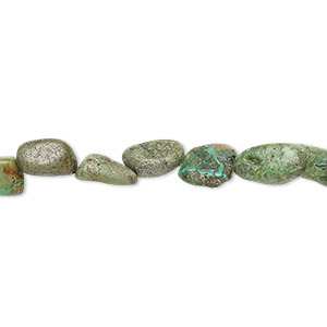 bead, turquoise (dyed / stabilized), green, mini nugget, mohs hardness 5 to 6. sold per 15-inch strand.