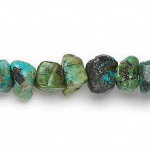 bead, turquoise (dyed / stabilized), green, small nugget, mohs hardness 5 to 6. sold per 16-inch strand.