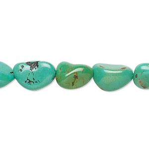 bead, turquoise (dyed / stabilized), green, small to medium nugget, mohs hardness 5 to 6. sold per 16-inch strand.