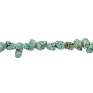bead, turquoise (dyed / stabilized), light teal green, mini nugget, mohs hardness 5 to 6. sold per 15-inch strand.
